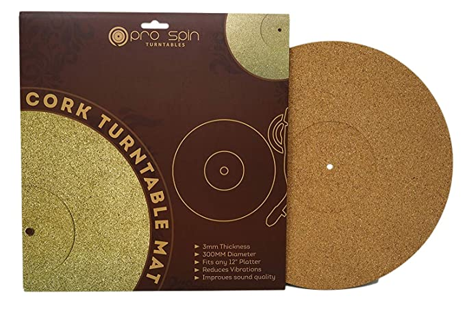 Pro-Spin Cork Turntable Mat for Vinyl LP Record Players (3mm) High-Fidelity Audiophile Acoustic Sound Support   Help Reduce Noise Due to Static and ...