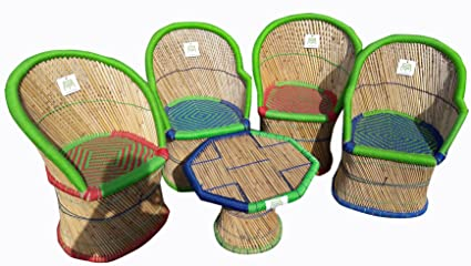Ecowoodies Acanthus Handicraft Cane Sitting Stool Chair Cane Furniture Set (4+1)