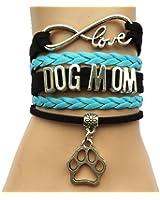 DOLON Infinity Love Dog Mom Paw Bracelet-Handmade Pet Friendship Leather Gift