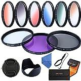 K&F CONCEPT 67mm Ensemble de 9 Filtres (UV+CPL+FLD+Bleu+Orange+Gris+Rouge+Vert+Brun) Filtre de protection UV Filtre Polarisant Circulaire Filtre à Densité Neutre Filtres Couleur Gradué