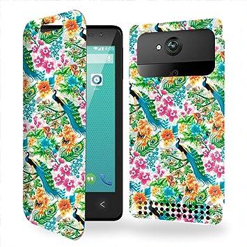 Funda Carcasa Carrefour Poss Smart 4.5 4G Tropical pattern avec paons et fleurs Collection Pattern de almacenamiento innovadoras con tarjeta de la puerta interna: Amazon.es: Electrónica