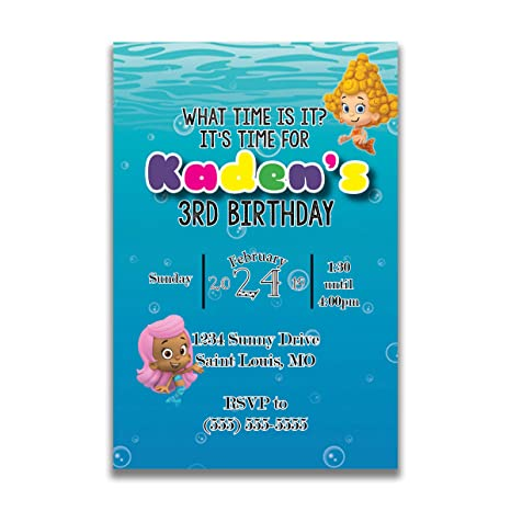 The Melange Market Customized Bubble Guppies Birthday Invitation