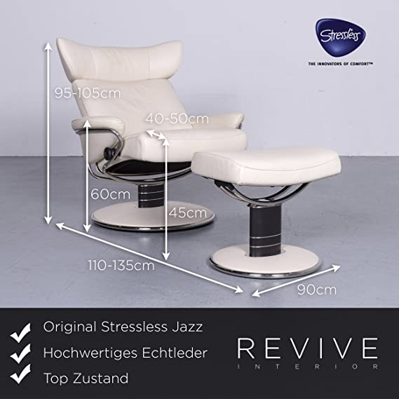 Stressless Jazz Designer Leder Sessel Creme Echtleder Stuhl ...