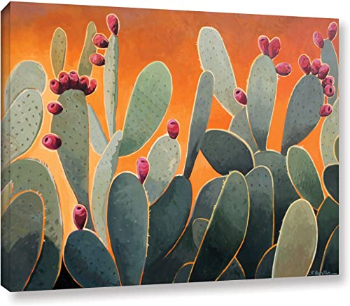 Art Wall Cactus Orange Gallery Wrapped Canvas Art