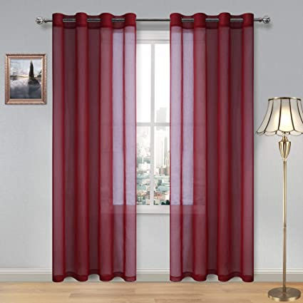Pleasing Dwcn Amaranth Red Sheer Curtains For Living Room Bedroom Faux Linen Look Voile Drapes Grommet Top Window Curtain Panel 52 X 84 Inch Long Set Of 2 Download Free Architecture Designs Scobabritishbridgeorg
