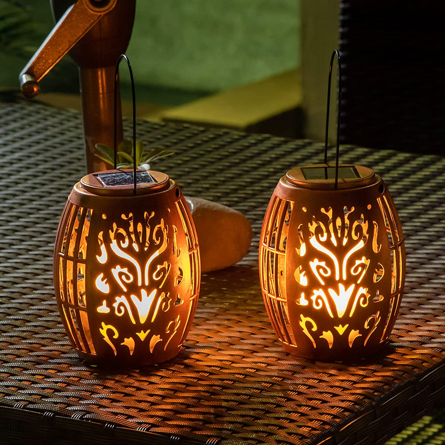2Pack Solar Outdoor Lanterns Hanging LED Garden Lights Decorative Flickering Flameless Candle Table Lamps for Patio, Yard, Porch, Tree Decorations(Copper)
