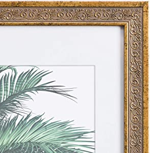 11x14 Picture Frame Antique Gold - Matted to 8x10, Frames by EcoHome