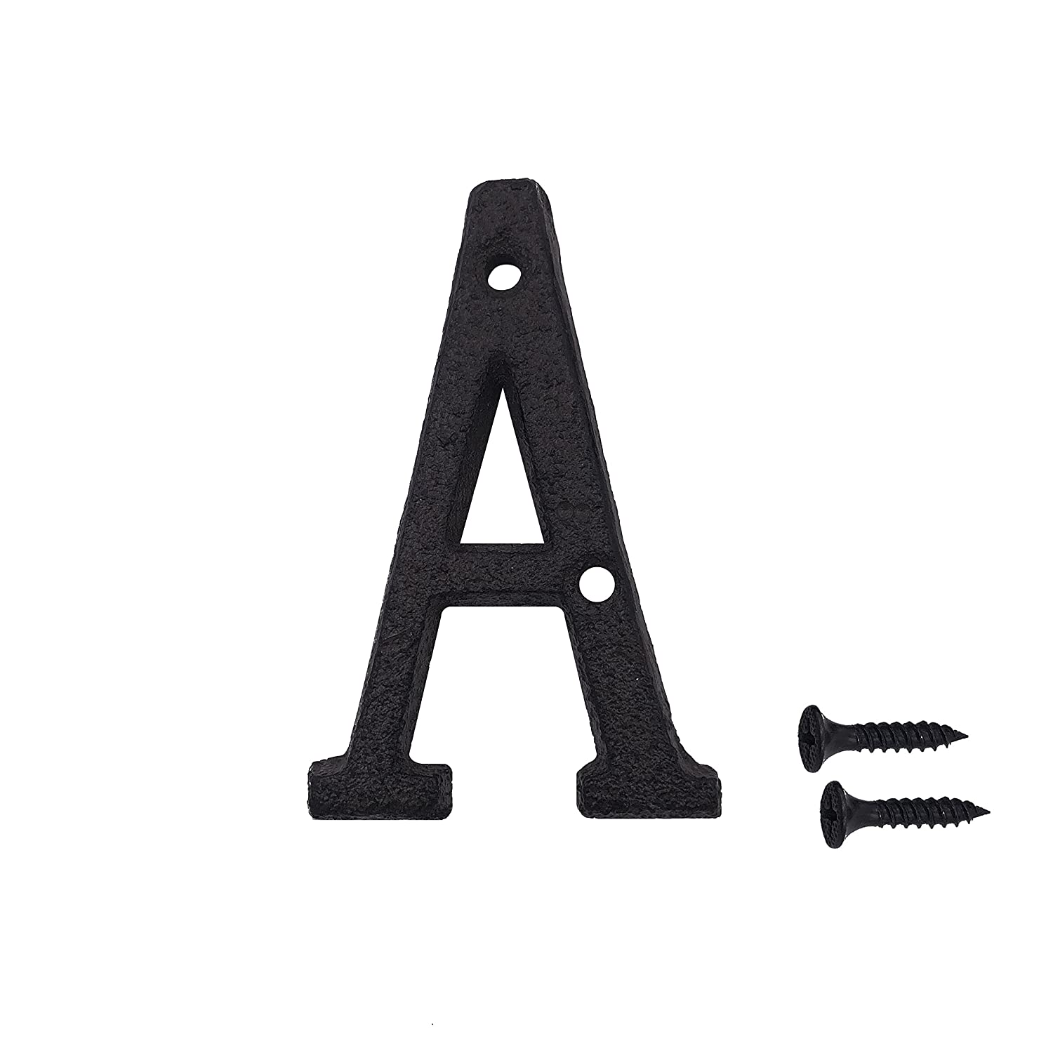 3 Inch Wrought Iron House Number, Matching Screws Included Black Letter A TripDock TD-HOUSE070612
