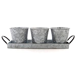 Bison Home Goods Planter Pots and Tray (Vintage) Caddy, 3 Buckets w/Twisted Metal Handles | Windowsill Planter, Succulents, Herbs, Arts and Crafts | Farmhouse Decor & Kitchen Organizers
