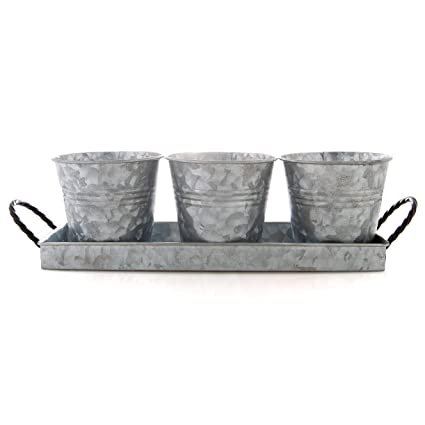 Amazon Com Bison Home Goods Planter Pots And Tray Vintage Caddy