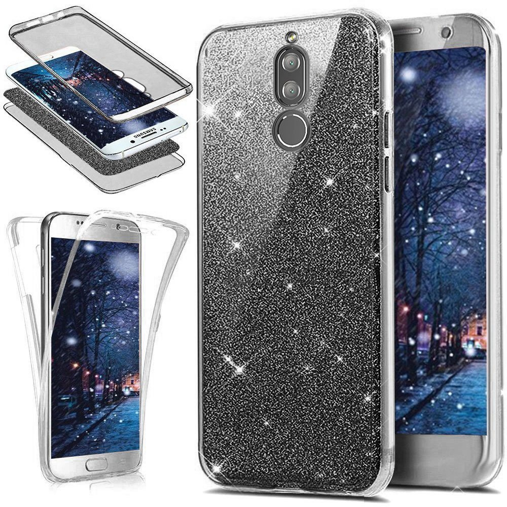Uposao Huawei Mate 10 Lite Coque Silicone 360 Degré Intégral Avant arrière Full Body Coque Etui Glitter Brillant Paillette Coque Double Faces Ultra-Mince Transparent Souple Case Huawei Mate 10 Lite PYHT000337