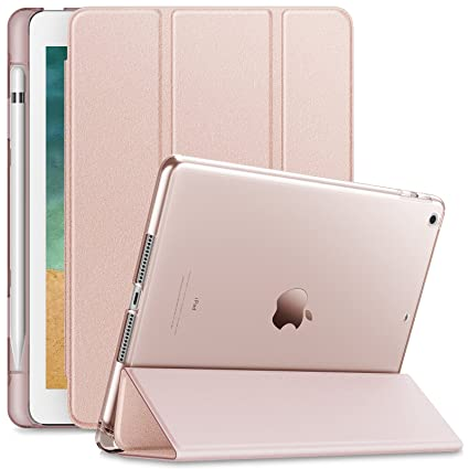 newest 3812d de716 Infiland iPad 9.7 2018 Case with Apple Pencil Holder, Stand Case with  Translucent Frosted Back Smart Cover Compatible with Apple iPad 9.7inch  (6th ...