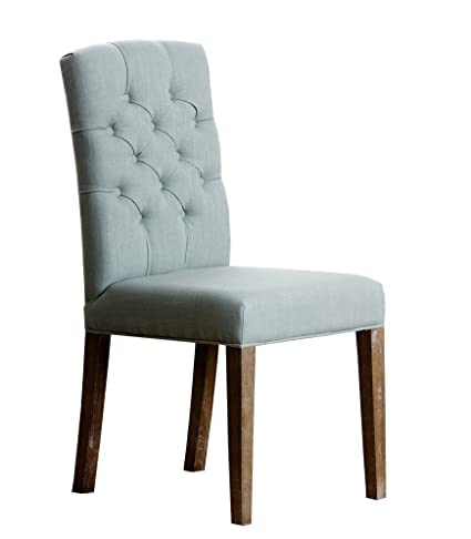 Bon Abbyson Princeton Linen Tufted Dining Chair, Blue