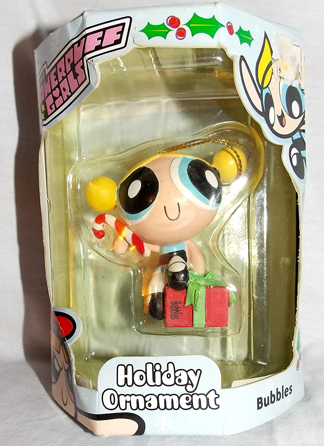 2000 Powerpuff Girls Bubbles on Present Holding Candy Cane 2.5 Christmas Ornament