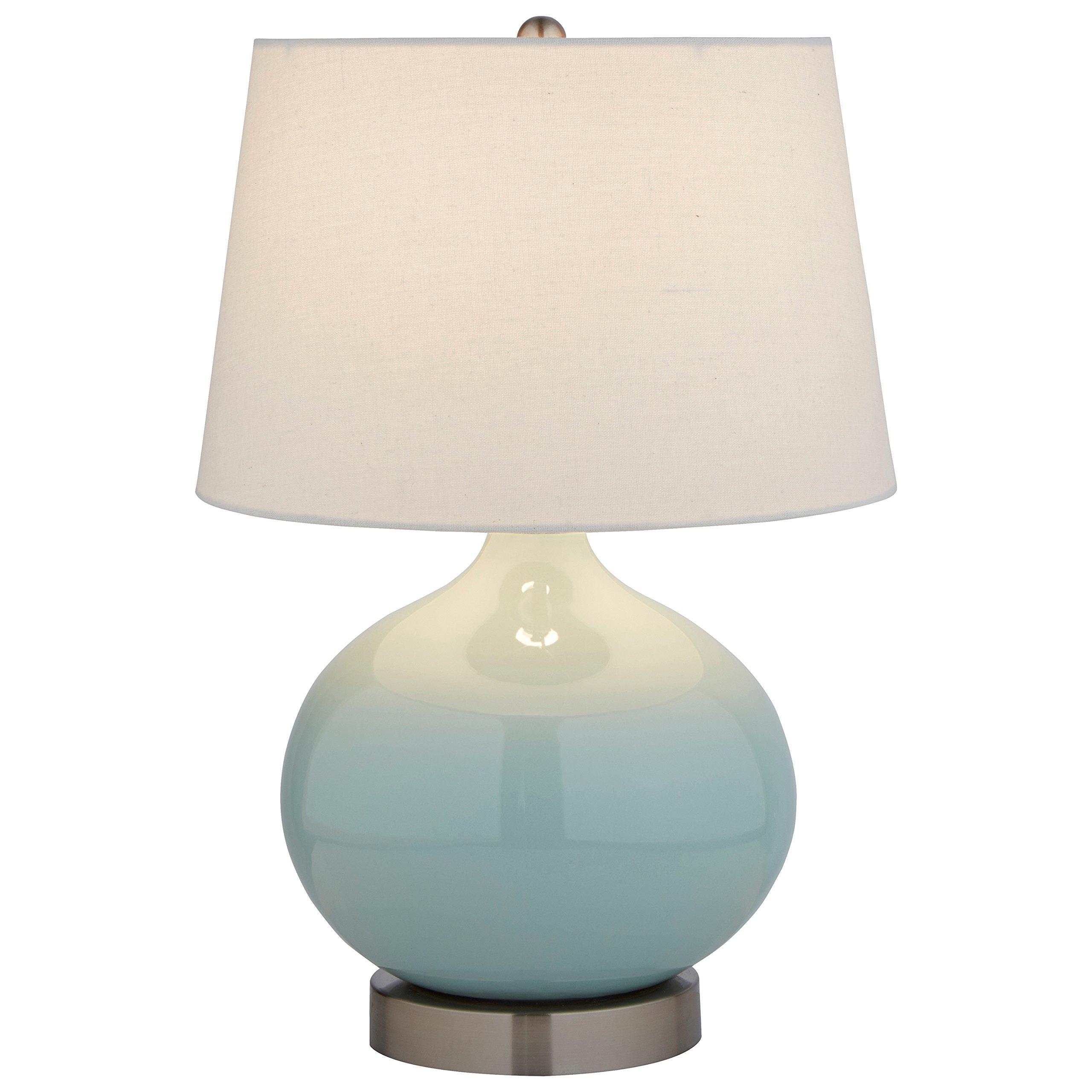 Stone & Beam Cyan Ceramic Lamp, 20''H, with Bulb, White Shade