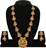 Matushri Art Indian Traditional Temple Jewelry Of Laxmi God Necklace Set For Women And Girls - Red