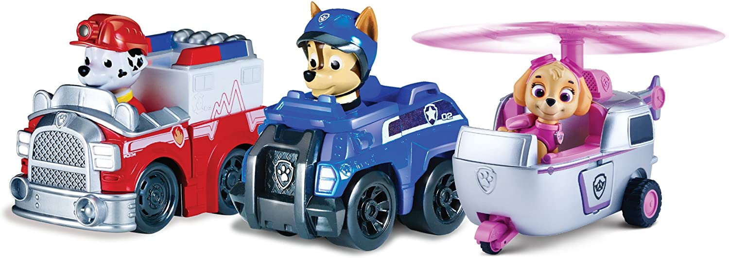 Paw Patrol Racers 3-Pack Vehicle Set  Rescue Marshall  Spy Chase  and Skye