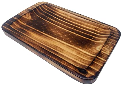 Buy Ck Curved Serving Tray Pine Wood Burnt Finish Online At Low