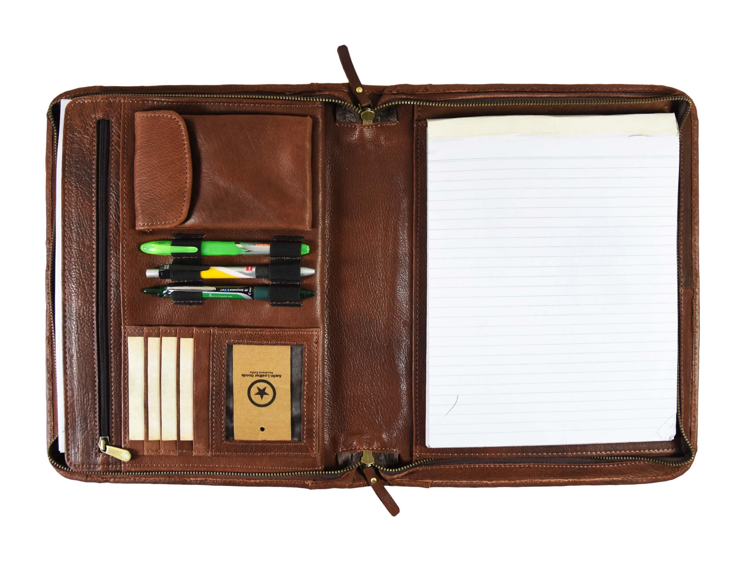 Premium Genuine Leather Business Portfolio and Professional Organizer, with a Zippered Closure,by Aaron Leather (Hickory Brown)