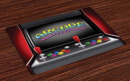 Videojuegos Colchonetas, máquina arcade Juegos retro Diversión Palanca de mando Botones Vintage 80s 90s Electrónicos, manteles lavables para comedor Decoración de mesa de cocina, juego de 4: Amazon.es: Hogar