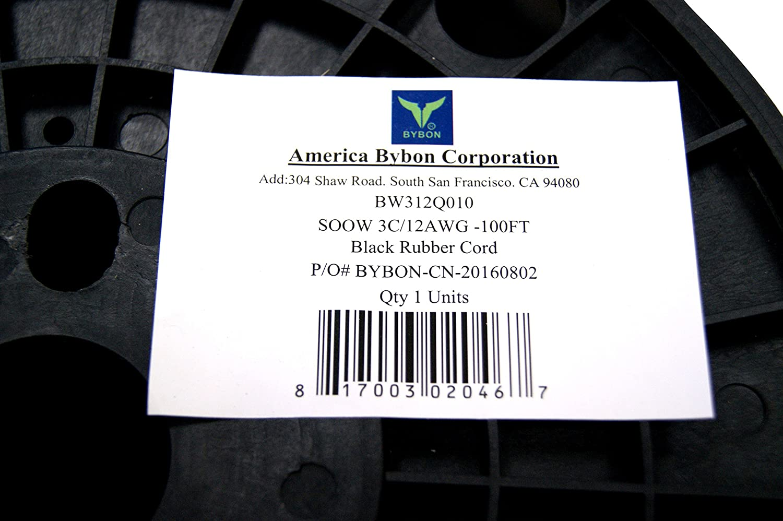 BYBON 100-Feet 12//3 SOOW Rubber Flexible Extra Heavy Duty Portable Cord 600V,UL Listed Black