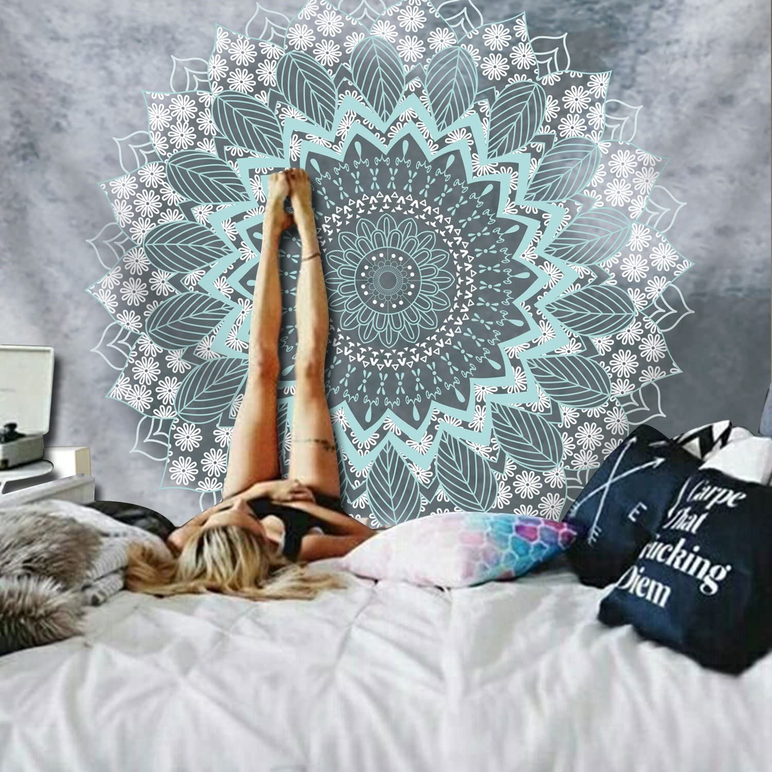 51.2/—59.1 inches, Mandala Tapestry Tapestry Mandala Hippie Bohemian Tapestries Wall Hanging Flower Psychedelic Tapestry Wall Hanging Indian Dorm Decor for Living Room Bedroom
