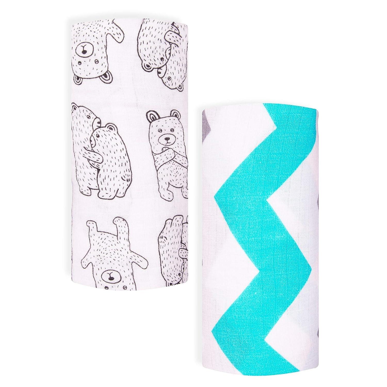 Muslin Swaddle Blanket /& Receiving Blanket,47x47,Pink Flamingo /& Hearts-2 Pack