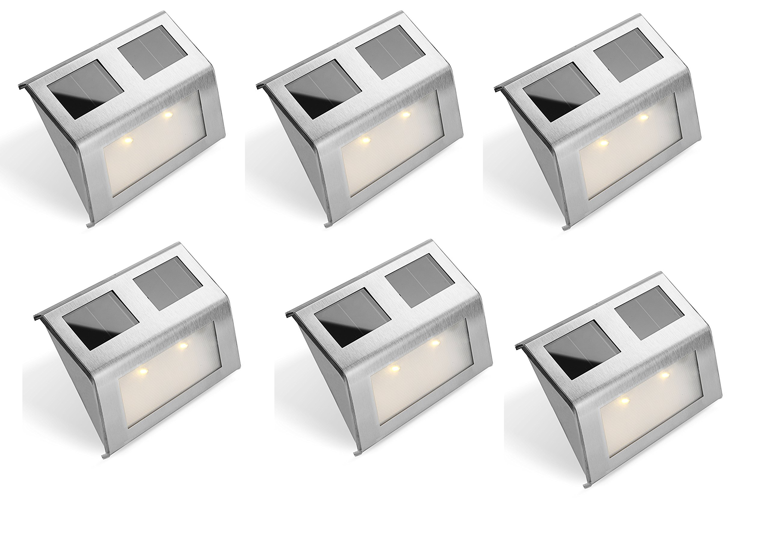 Bear Motion (TM) Solar Powered LED Light for Garden, Fence, Walkways Stairways, Path Pathway Lights - 6 Packs