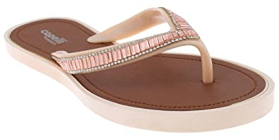 33e235dee5e0 Capelli New York Ladies Opaque Jelly Flip Flop with Gem Trim Nude 6