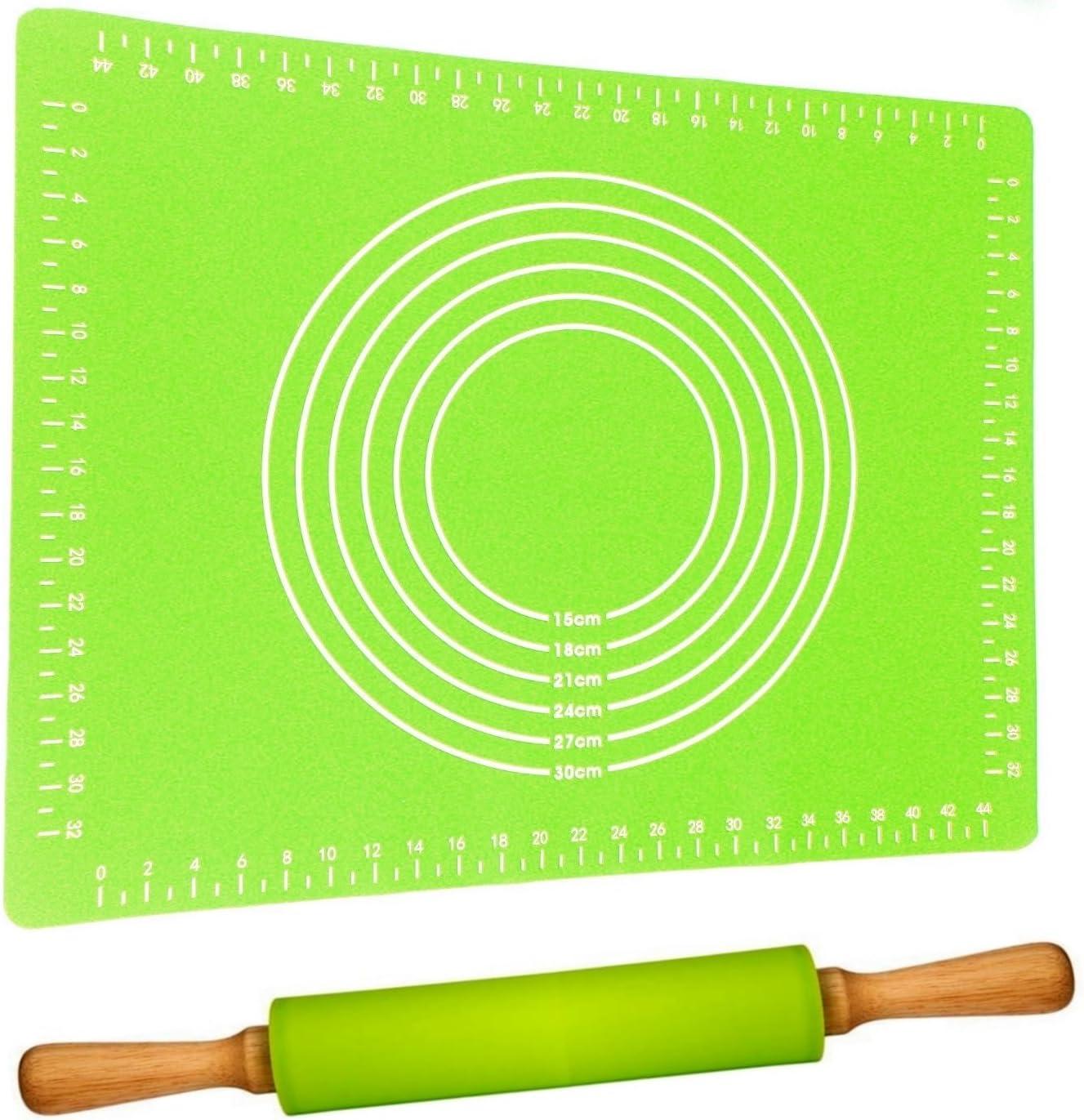 BPA frei Nudelholz 40cm mit Teigmatte 60x40cm Leichtes Ausrollen Antihaft Teigroller mit Backmatte Silikon Gro/ß Gr/ün