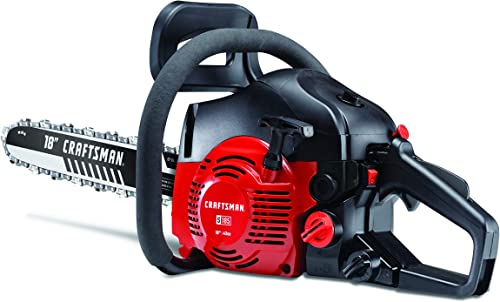 Craftsman 41AY4218791 S185 42cc Full Crank 2-Cycle Gas Chainsaw-18-Inch Bar and Automatic Chain Oiler-Carrying Case Included, Liberty Red