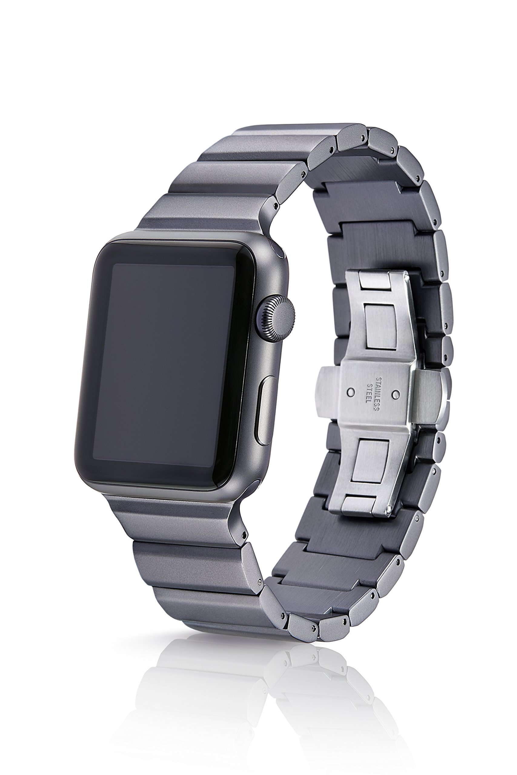 38/40mm JUUK Cosmic Grey Ligero Premium Watch Band Made for The Apple Watch, Using Aircraft Grade, Hard Anodized 6000 Series Aluminum with a Solid Stainless Steel Butterfly deployant Buckle (Matte)