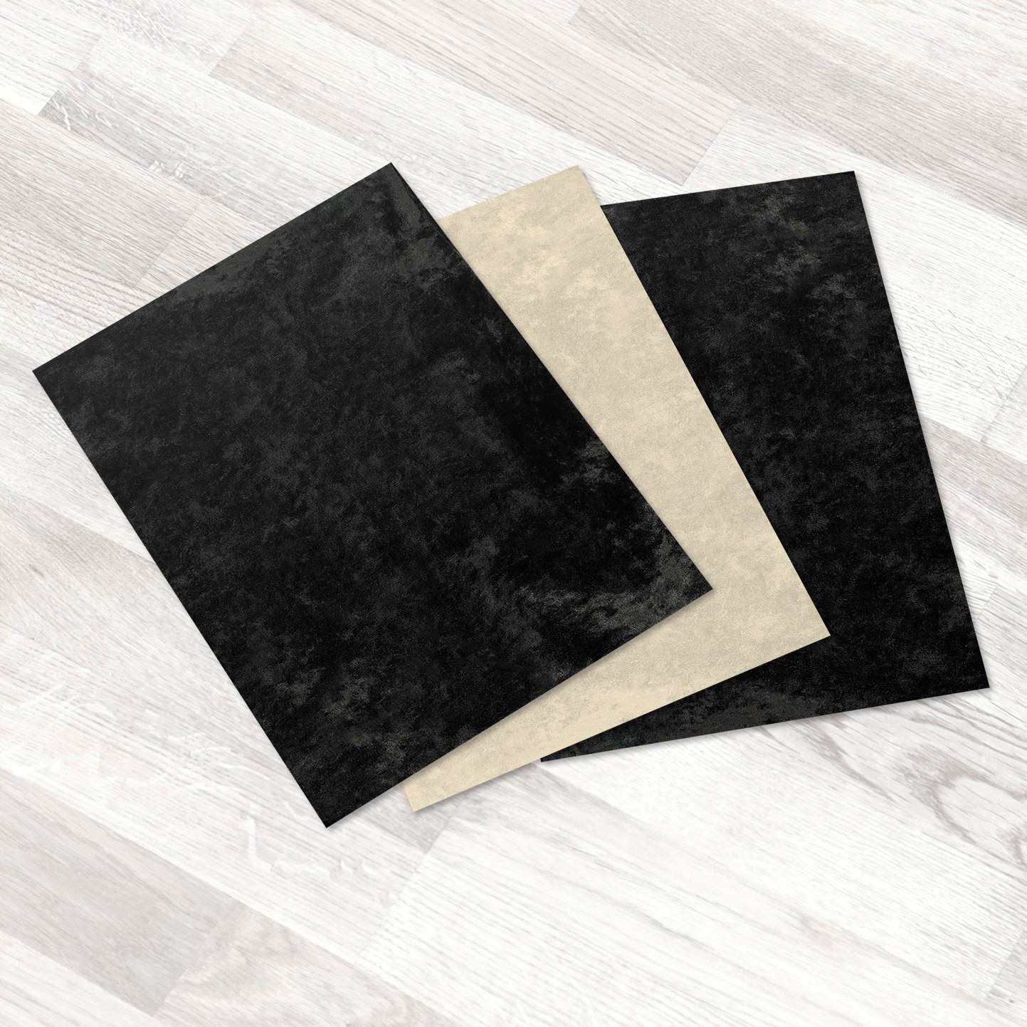 Kenley Stick-on Sole Sheets for Dance Shoes - Set of 3 Black & Beige Eco Suede Soles 8.5'' x 12'' - Sticky Self-Adhesive Backing - Easy Resole Old Dance Shoes, Heels or Sneakers