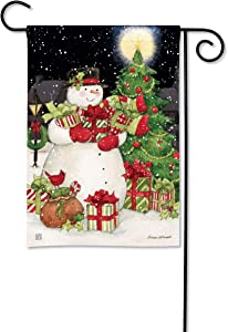 BreezeArt Studio M Hometown Snowman Winter Christmas Garden Flag - Premium Quality, 12.5 x 18 Inches