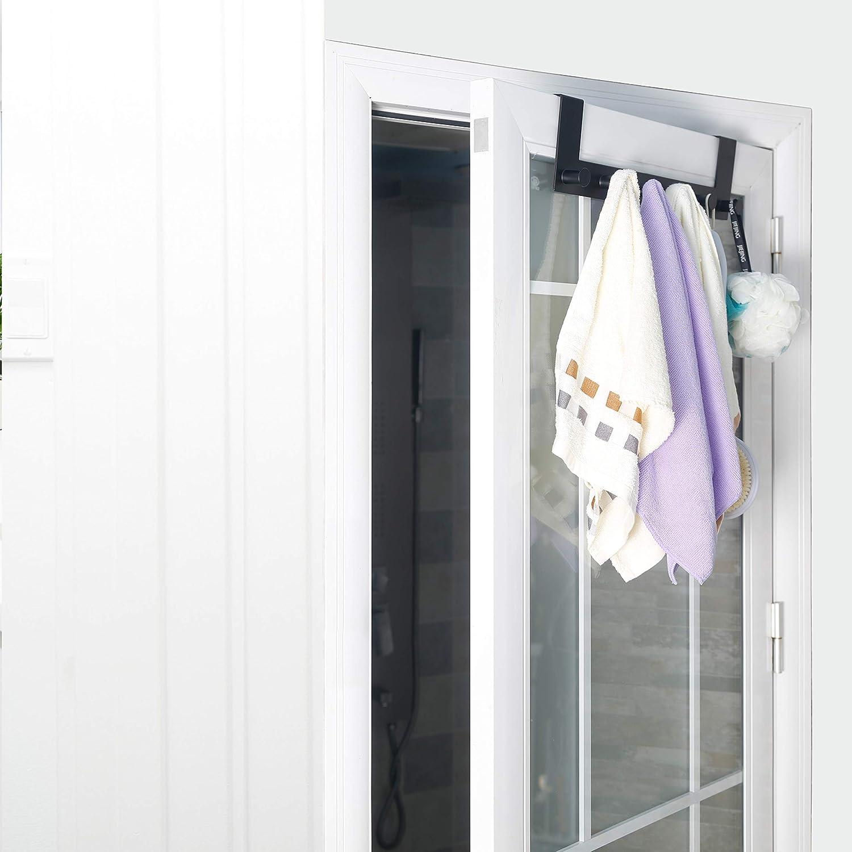 WEBI Over The Door Hook,Over The Door Towel Rack with 6 Hooks for Hanging Coats,Door Coat Hanger Over Door Coat Rack for Bathroom,Behind Back of Door,Black
