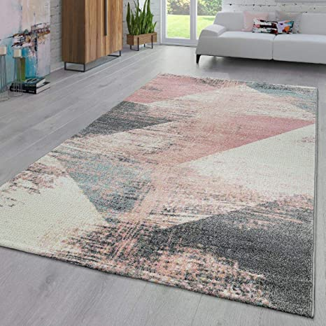 Paco Home Area Rug Abstract Geometric Pattern Fashionably Faded In Multicolor Pink Cream Gray Blue Size 2 X 3 3 Home Kitchen