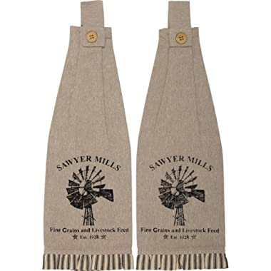 VHC Brands Farmhouse Housewarming Tabletop Miller Farm Charcoal Windmill Fabric Loop Cotton Stenciled Chambray Graphic/Print Kitchen Towel Set of 2, One Size, Khaki Tan