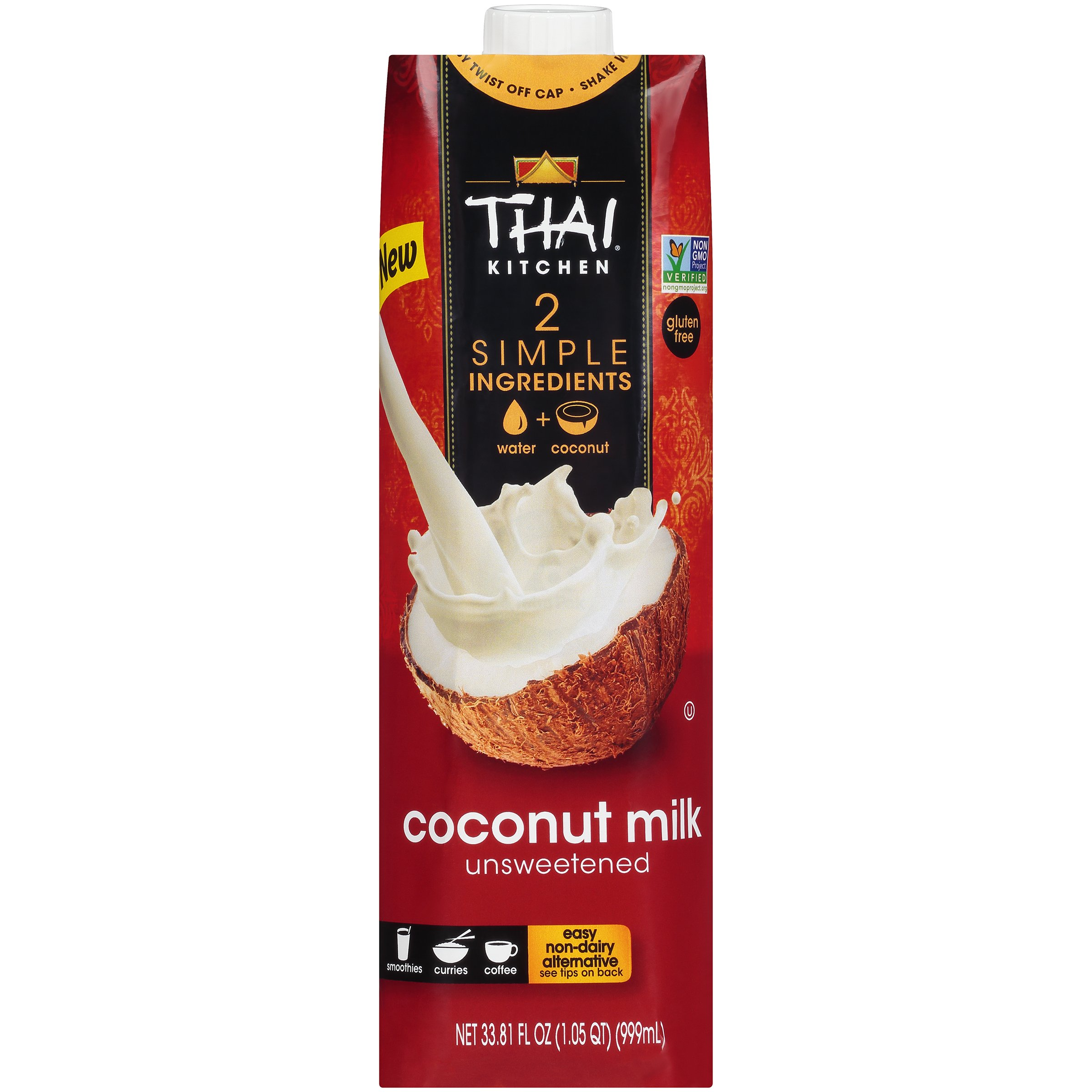 Thai Kitchen Dairy Free Coconut Milk (Resealable, Just Coconuts & Water, BPA Free Packaging, Unsweetened), 33.81 fl oz (Pack of 6)