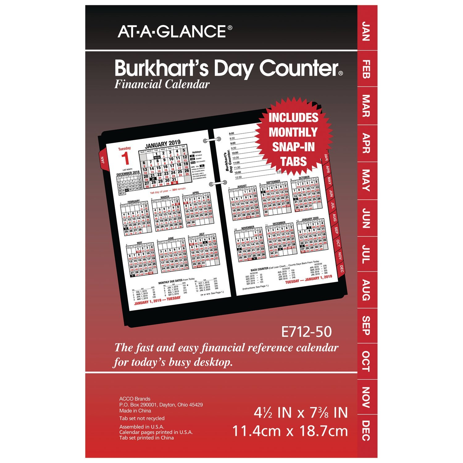 AT-A-GLANCE 2019 Daily Desk Calendar Refill, 4-1/2'' x 7-3/8'', Burkhart's Day Counter (E71250) by AT-A-GLANCE
