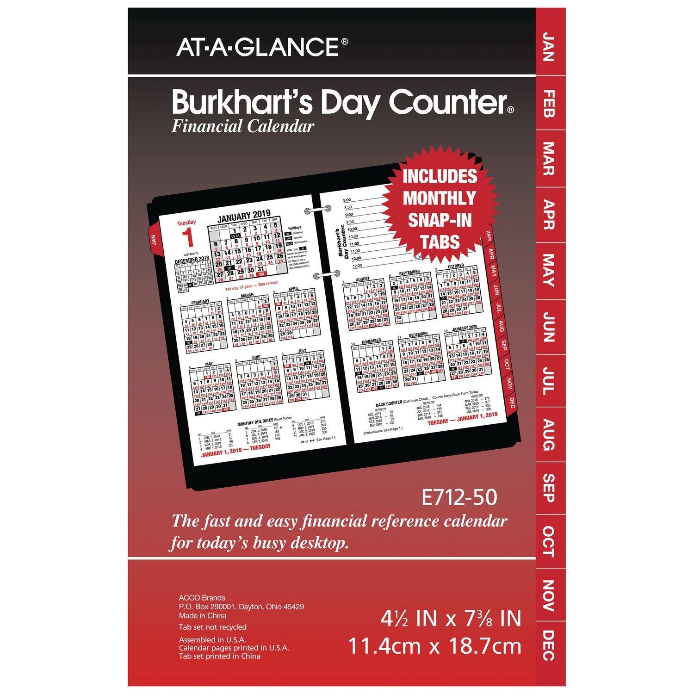 at-A-Glance Daily Desk Calendar Refill, January 2019 - December 2019, 4-1/2'' x 7-3/8'', Burkhart's Day Counter (E71250)