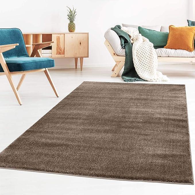 Schlafzimmer und die K/üche geeignet Grau Silber 080x150 cm Kinderzimmer Taracarpet Teppich Kurzflor weicher Designer Uni Bodenbelag Madrid f/ürs Wohnzimmer