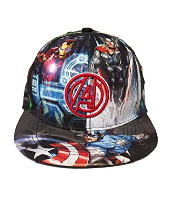 Amazon.com  Marvel Avengers Boys Flat Bill Snap Back Baseball Hat ... 60d75b94bfd
