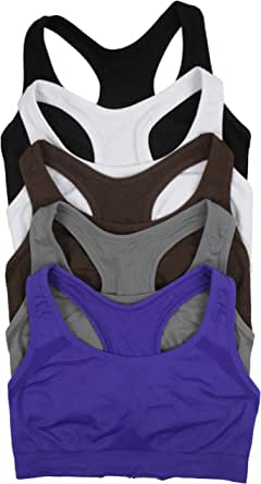 ToBeInStyle Women's Pack of 6 Double Layer Racerback Sports Bras