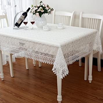 High Quality Elegant White Embroidered Openwork Lace Table Cloth Polyester  Satin Full Lace Tablecloth Wedding Table