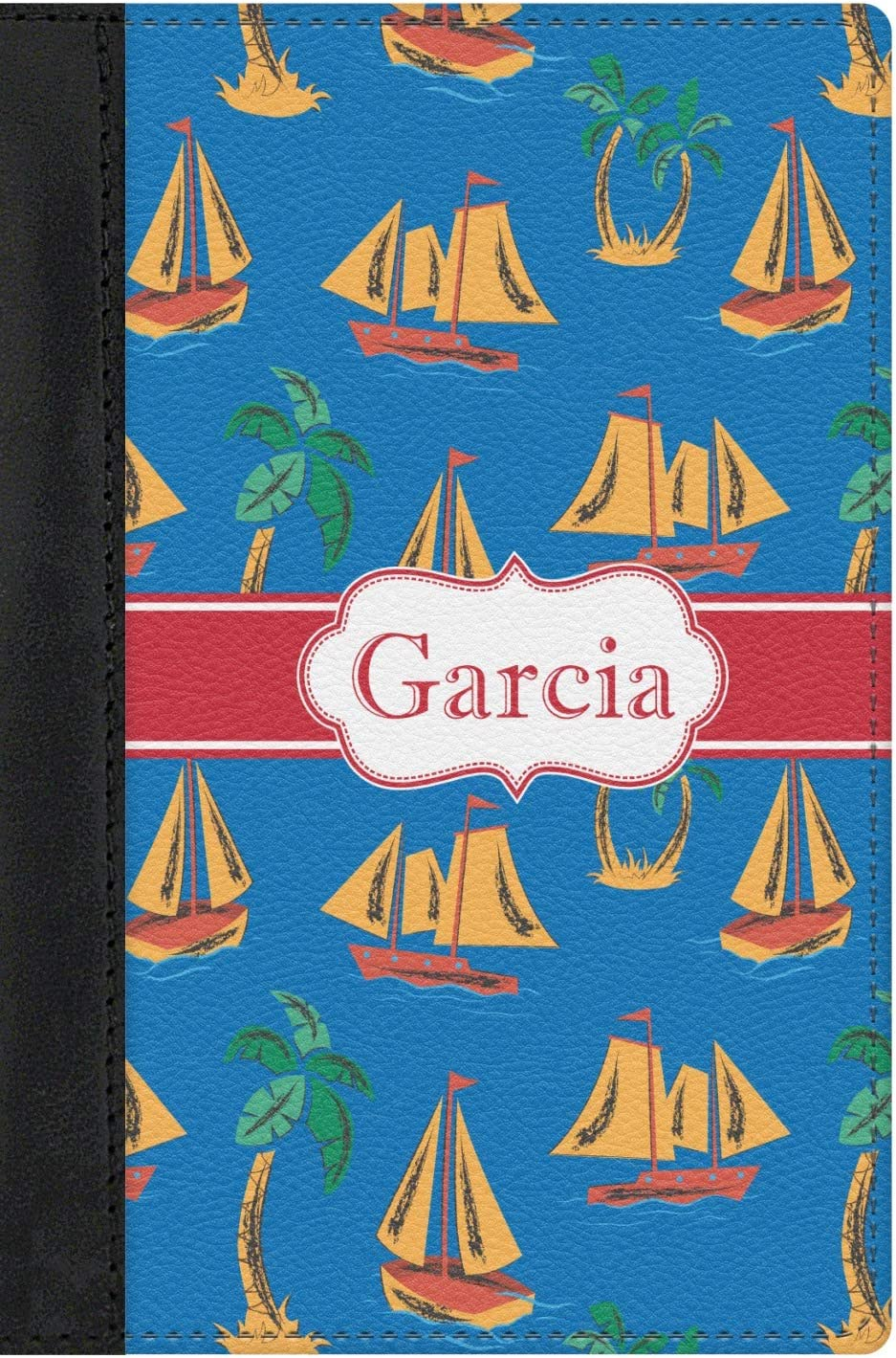 Personalized Boats /& Palm Trees Genuine Leather Passport Cover
