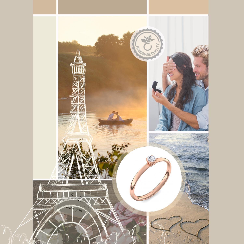 Diamantring rotgold  Verlobungsring Vorsteckring Rotgold Ring Diamant 585 + inkl ...