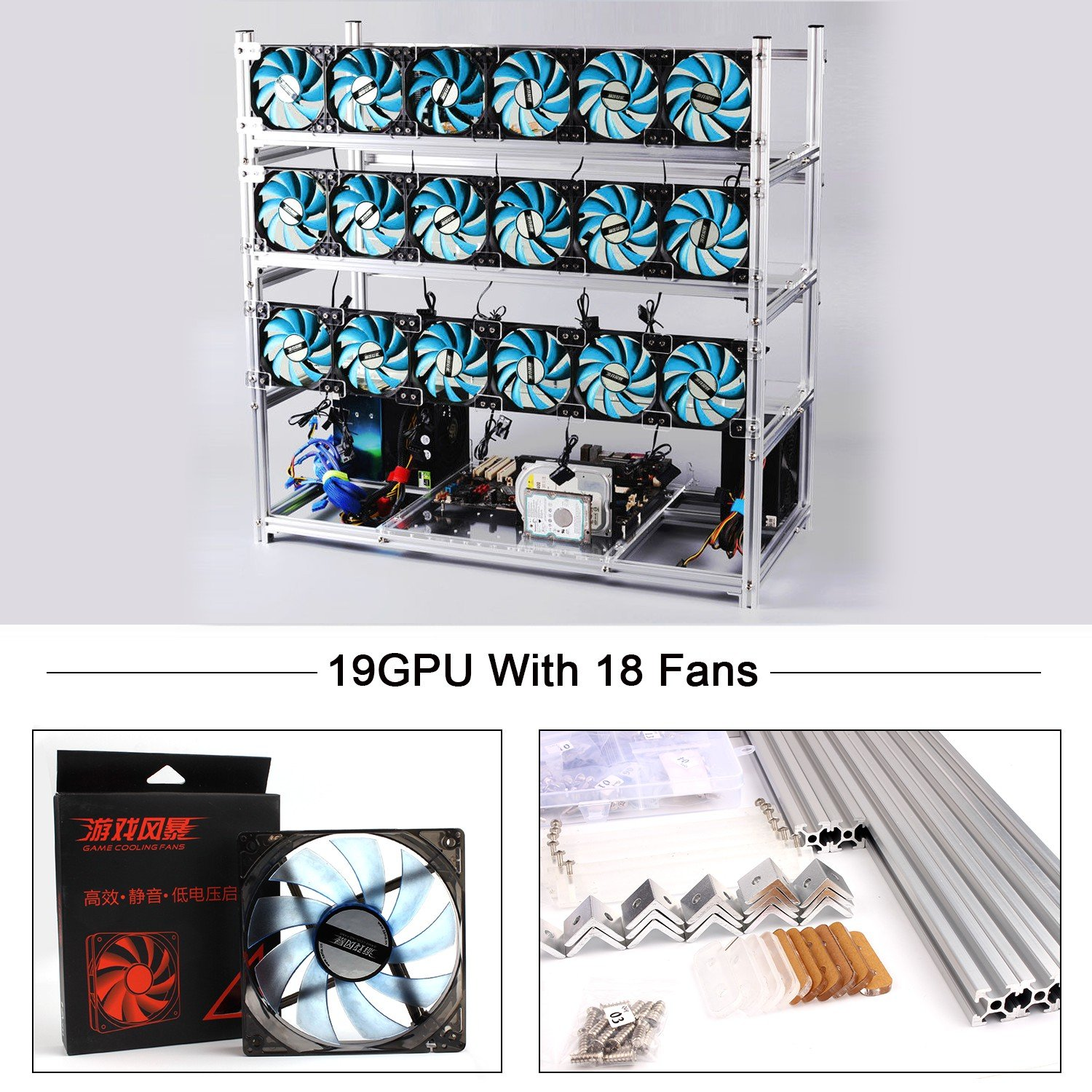 19 GPU Miner Case With 18 Blue Fans, Aluminum Stackable Mining Rig Open Air Frame For Ethereum(ETH)/ETC/ ZCash Ethereum,Bitcoin,Cryptocurrency and Altcoins to improve GPU performance and life