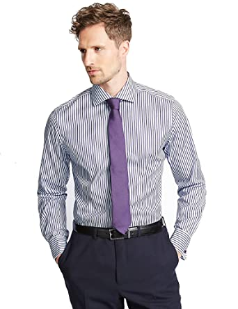 2901b038fe5d CER Mens Luxury Collection Slim Fit Superior 2 Fold Pure Cotton Striped  Shirt M S (Purple