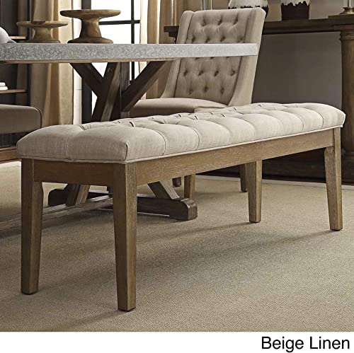 Linon Laurel Wood Upholstered Roll Arm Bench in Gray