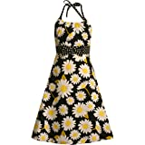 f573635fad1 Bonnie Jean Girls PLUS SIZE 12.5-20.5 BLACK WHITE YELLOW DAISY FLOWER PRINT  HALTER Easter